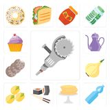 Set of Grinder, Water, Pancakes, Sushi, Pistachio, Onion, Cookie. Set Of 13 simple editable icons such as Grinder, Water, Pancakes, Sushi, Pistachio, Onion Stock Illustration