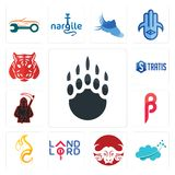 Set of grizzly claw, nervous system, buffalo brand, landlord, c fire, , grim reaper, stratis, tiger icons. Set Of 13 simple editable icons such as grizzly claw Royalty Free Stock Photo