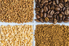 Set of groceries. Buckwheat, roasted coffee beans, dried peas, freeze-dried instant coffee Stock Image