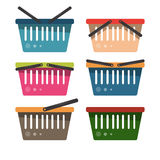 A set of grocery baskets for supermarket goods. Vector illustrat Royalty Free Stock Image