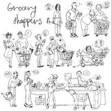 Set of grocery shoppers, hand sketching. Isolated Royalty Free Stock Photography