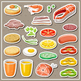 Set of grocery stickers. Stock Photo