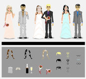 Set of grooms and brides Royalty Free Stock Photo