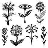Set of grotesque black flowers. Cartoon doodle of flowers. Set of grotesque black flowers. Sketches of flowers. Cartoon doodle of flowers royalty free illustration