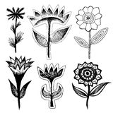 Set of grotesque black flowers. Sketches of flowers. Cartoon doodle of flowers stock illustration