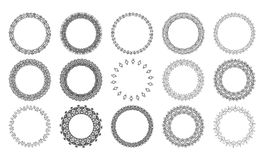Set of vintage circle decorative borders. Set of ground decorative frames. Good for invitation and greeting card. Vector illustration Royalty Free Stock Photography