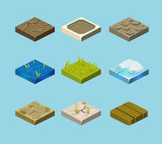 Set of ground surfaces. Grass, rocks and water Stock Images