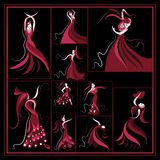 Set or group with abstract illustrations 13. Graphic abstract decorative Spanish girl in a red dress dancing flamenco-set. Vector illustration vector illustration