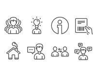 Group, Parcel invoice and Communication icons. Person talk, Education and Conversation messages signs. Set of Group, Parcel invoice and Communication icons vector illustration