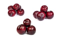 Set of Group of plums  on white Stock Photos