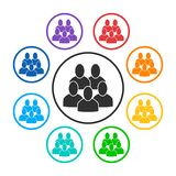 Set of group round icons with 5 peoples vector illustration