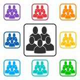 Set of group square icons with 5 peoples stock illustration