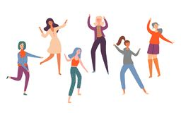Set Group Young Happy Dancing People Dancers stock illustration
