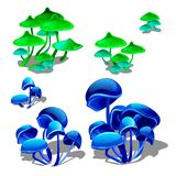 Set growing bright neon mushrooms isolated on white background. Hallucinogenic mushrooms. Vector cartoon close-up. Illustration Royalty Free Stock Photo
