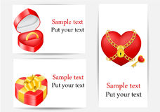 Set Grußkarten, Liebesschablonen Stockbilder