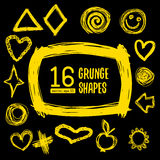 Set of 16 grunge abstract textured vector shapes. Stock Photography