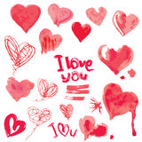 Set of grunge aquarelle hearts and words  I LOVE YOU - Elements Stock Photo