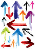 Set of grunge arrows; imitation of watercolor Stock Photo