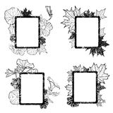 Set of grunge autumn leafs frames Stock Image