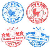Baby boy and baby girl stamps Royalty Free Stock Photo