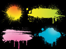 Set of grunge backgrounds. Set of colorful abstract grunge background made of ink blots Stock Photography