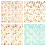 Set of grunge backgrounds with paper texture and floral pattern Stock Photography