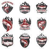 Set of grunge badges with salmon fish. Design elements for logo, Stock Photos