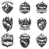 Set of grunge badges with salmon fish. Design elements for logo, Royalty Free Stock Images