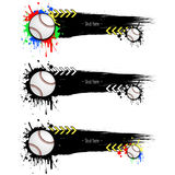 Set grunge banners with blots and baseball balls. Set grunge banners with baseball balls. Black background with splashes of watercolor ink and blots. Vector Royalty Free Stock Photos