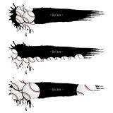 Set grunge banners with blots and baseball balls. Set grunge banners with baseball balls. Black background with splashes of watercolor ink and blots. Vector Stock Photography
