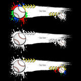 Set grunge banners with blots and baseball balls. Set grunge banners with baseball balls. White background with splashes of watercolor ink and blots. Vector Stock Images