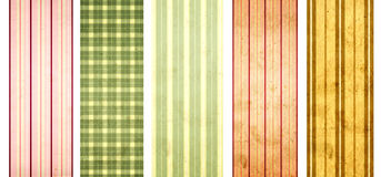 Set of grunge banners with striped pattern and paper texture Stock Photos