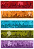Set -  grunge banners with towns Royalty Free Stock Photos
