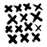 Set of 14 grunge black abstract textured vector crosses. Royalty Free Stock Image