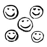 Set of 9 grunge black abstract textured vector smileys. Royalty Free Stock Photos