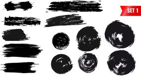 Set grunge black brush. Striples and circle. Set of vector grunge figures of black painted by brush Stock Images