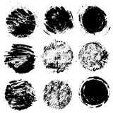 Set of  grunge black color figures - circles, round frame Stock Photography