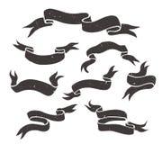 Set of  grunge black hand drawn  ribbons . Stock Image