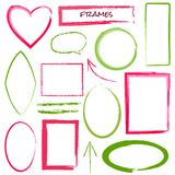 Set of grunge brush frames Stock Photos