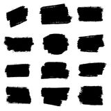 Set of grunge brush strokes, ink elements stock images