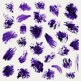 Set of grunge  brushes brush strokes  on a white background. Violet  brush strokes collection. Grunge elements Stock Image