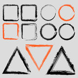Set of grunge charcoal frames. Of different shapes vector Royalty Free Stock Photos