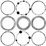 Set of grunge circle brush strokes. thin circles. Stock Photography