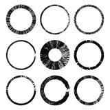 Set of grunge circles. Damage round grunge shape silhouette. Circle distressed grunge texture. Texture Stamp. Vector illustration stock illustration