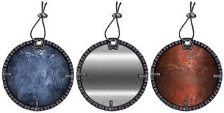 Set of Grunge Circular Metal Tags - 3 items Stock Photography