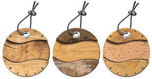Set of Grunge Circular Wooden Tags - 3 items Stock Photo