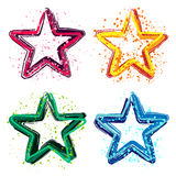 Set of grunge colorful stars vector illustration. Elements for your design Royalty Free Stock Images