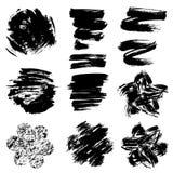 Set grunge czerni koloru postacie - okręgi, serca, linie, flo Obrazy Stock