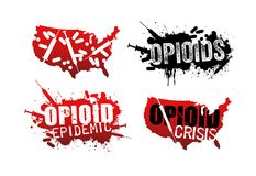 Set of grunge designs about opioid addiction. Set of grunge designs with text about the opioid crisis or epidemic in the United States royalty free illustration