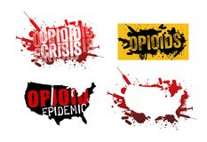 Set of grunge designs about opioid addiction. Set of grunge designs with text about the opioid crisis or epidemic in the United States Royalty Free Stock Photography